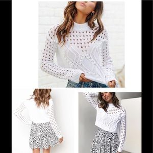 💕NEW💕 Beautiful knit White Pullover Sweater